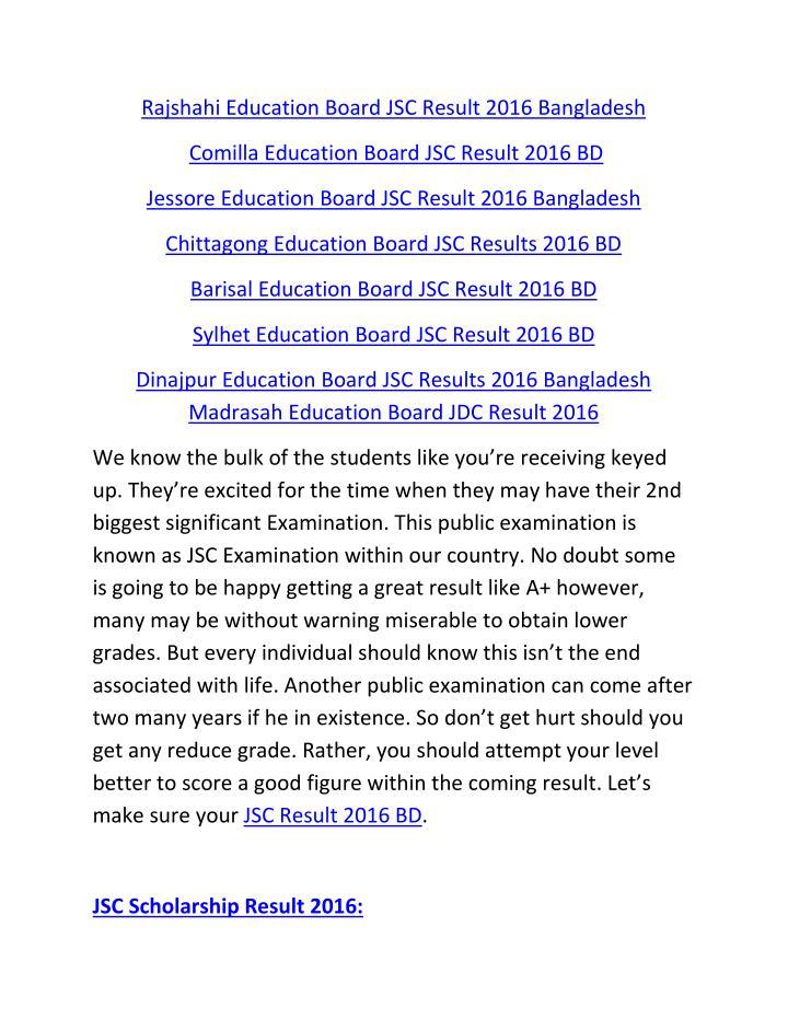 Rajshahi Education Board JSC Result 2016 Bangladesh