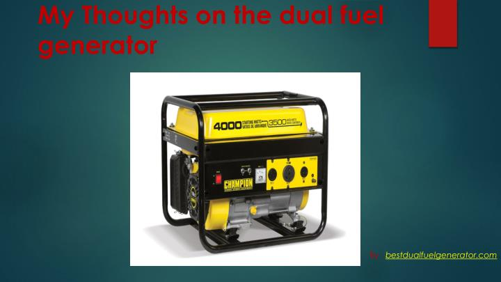 My Thoughts on the dual fuel generator