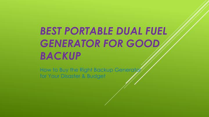 Best portable dual fuel generator for good backup