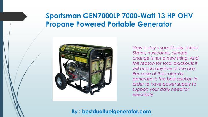 Sportsman GEN7000LP 7000-Watt 13 HP OHV Propane Powered Portable Generator