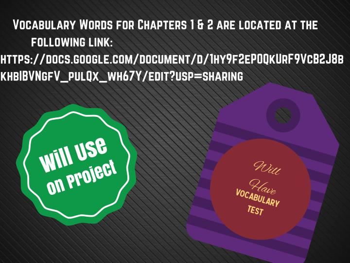 Vocabulary Words for Chapters 1 & 2 are located at the