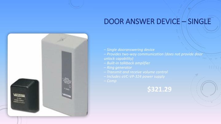 Door Answer Device – Single