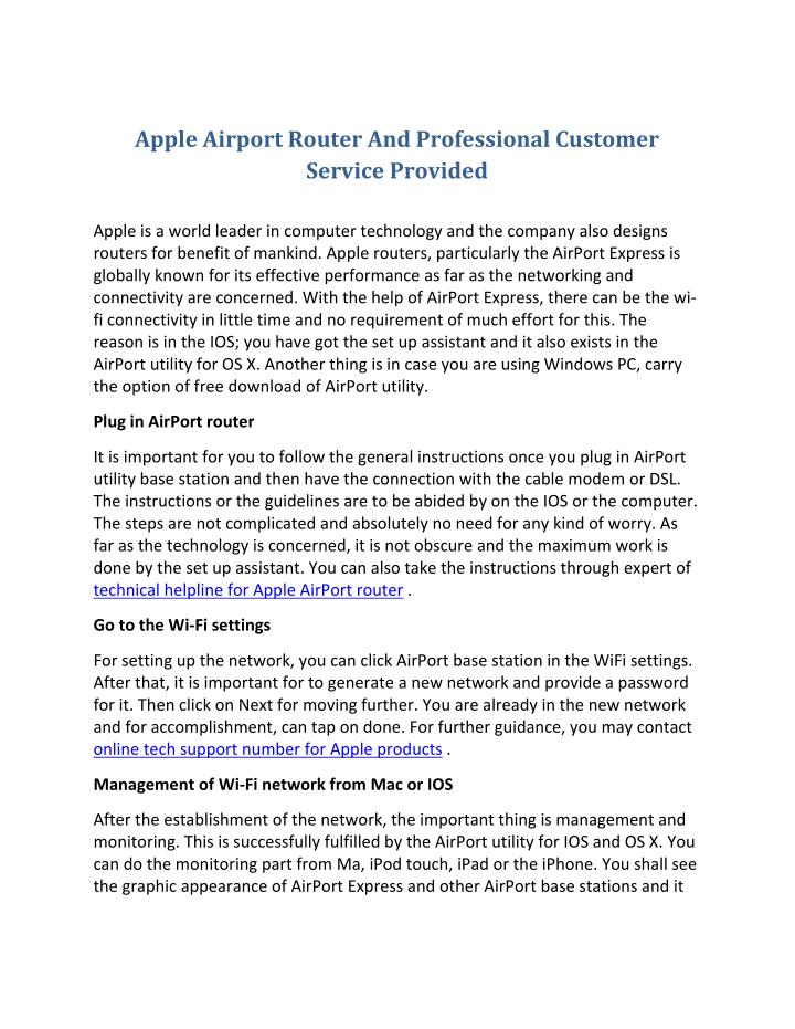 Apple Airport Router And Professional Customer