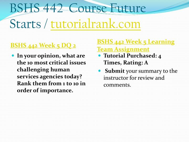 BSHS 442  Course Future Starts /