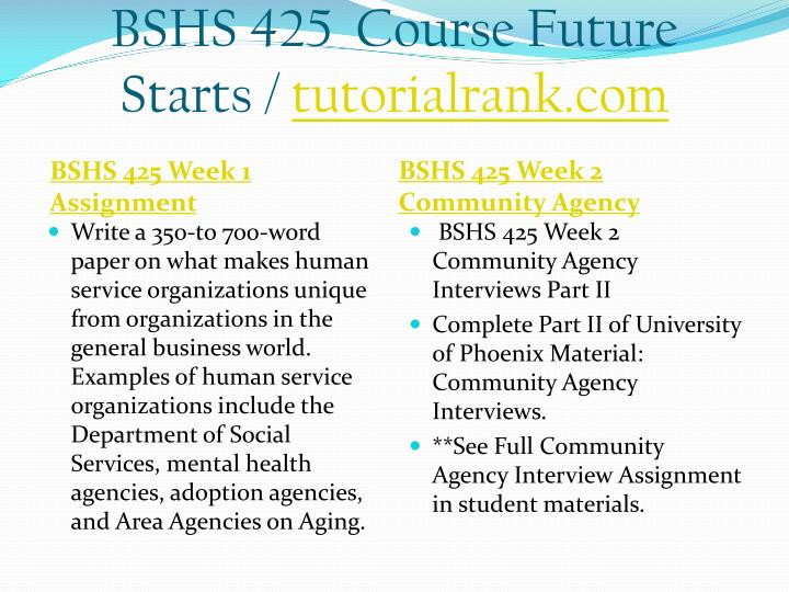 Bshs 425 course future starts tutorialrank com1