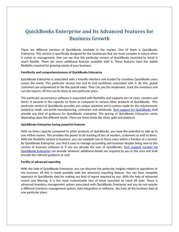 QuickBooks Enterprise and Its Advanced Features for