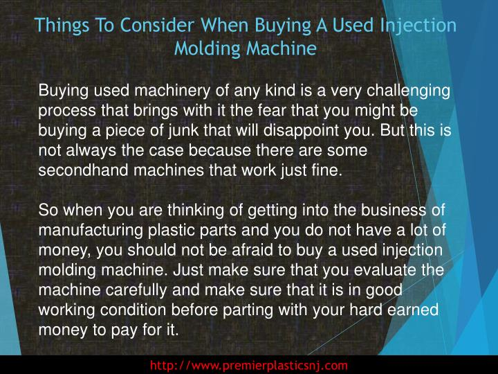Things to consider when buying a used injection molding machine1