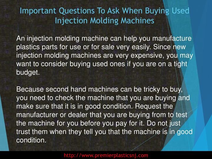 Important questions to ask when buying used injection molding machines1