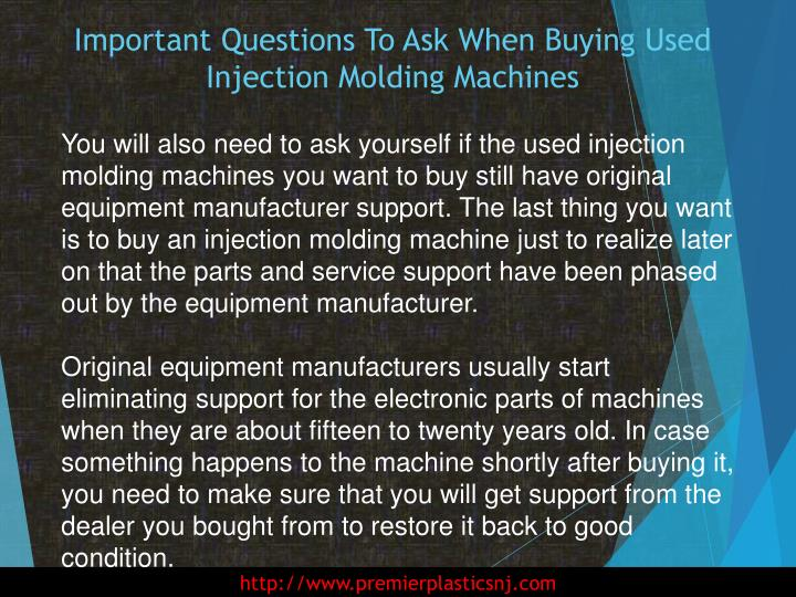 Important Questions To Ask When Buying Used Injection Molding Machines
