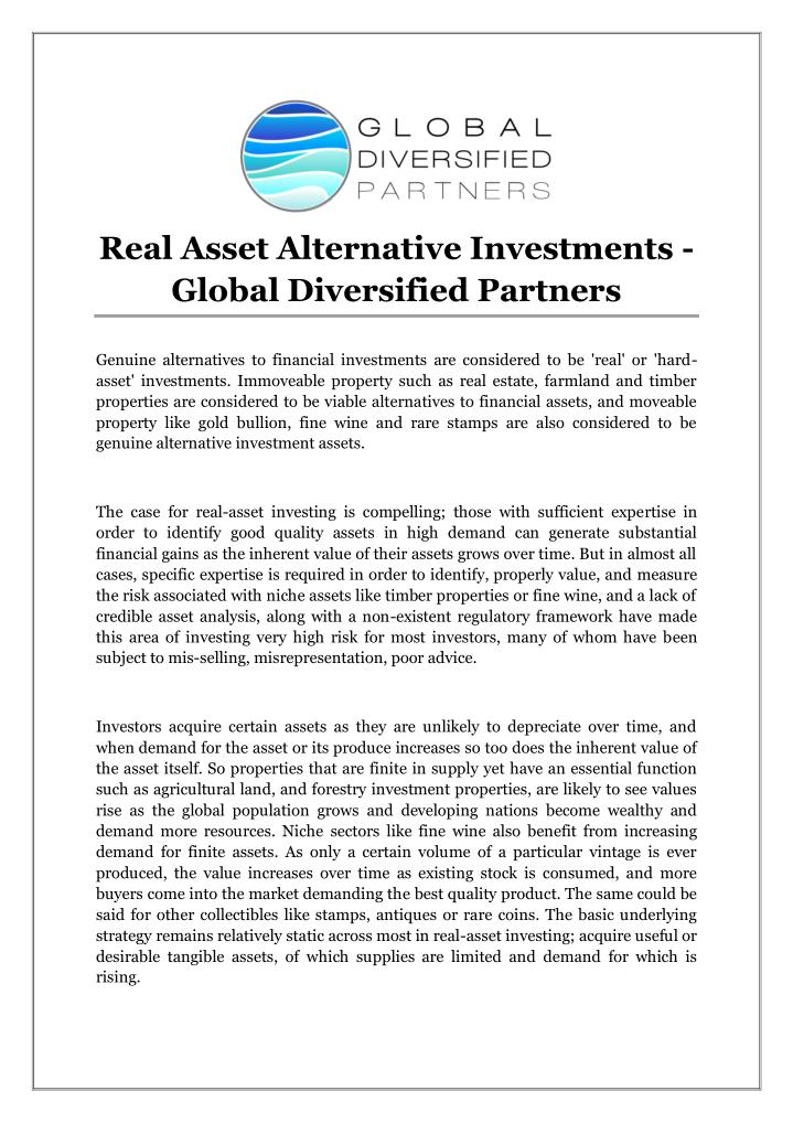 Real Asset Alternative Investments -