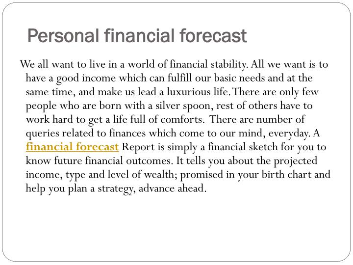 Personal financial forecast