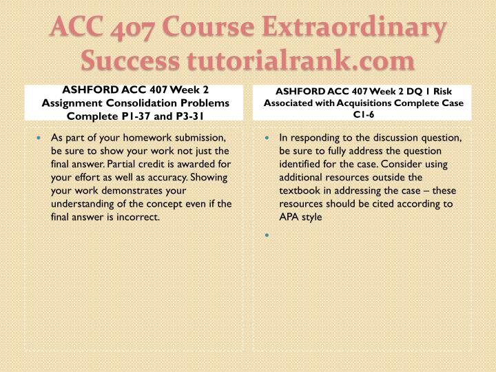 ASHFORD ACC 407 Week 2 Assignment Consolidation Problems Complete P1-37 and P3-31