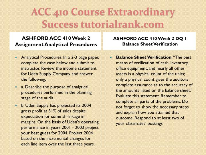 ASHFORD ACC 410 Week 2 Assignment Analytical Procedures