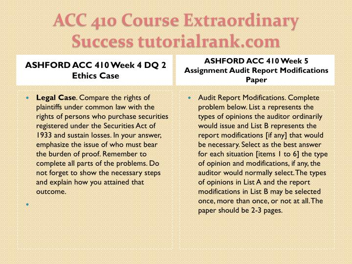 ASHFORD ACC 410 Week 4 DQ 2 Ethics Case