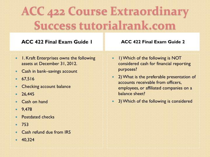 ACC 422 Final Exam Guide 1