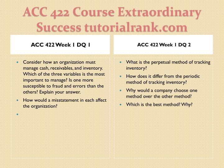 ACC 422 Week 1 DQ 1