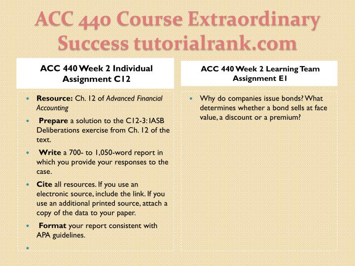 ACC 440 Week 2 Individual Assignment C12