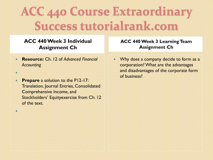 ACC 440 Week 3 Individual Assignment Ch