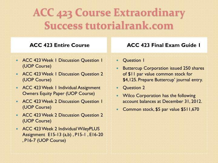 Acc 423 course extraordinary success tutorialrank com1