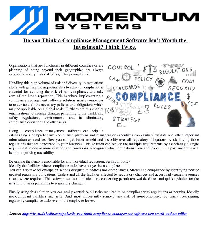 Do you Think a Compliance Management Software Isn't Worth the