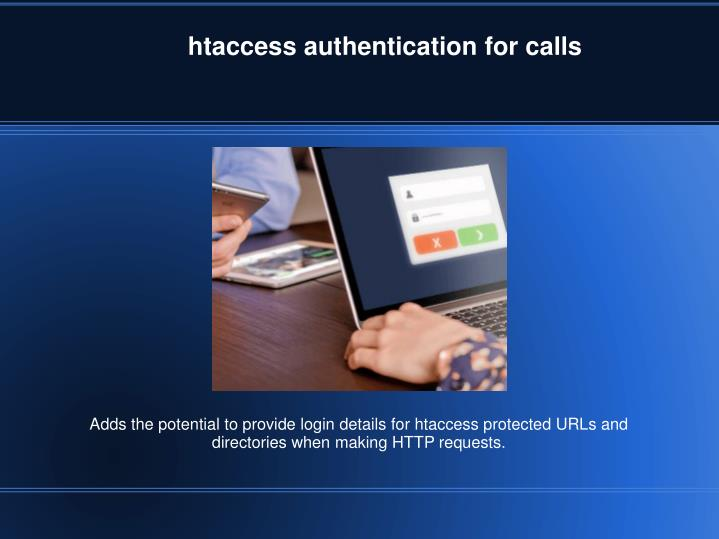 htaccess authentication for calls