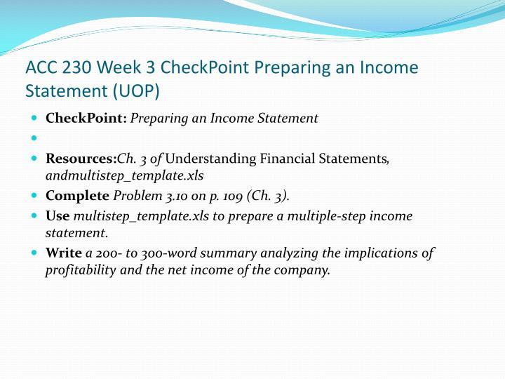 ACC 230 Week 3
