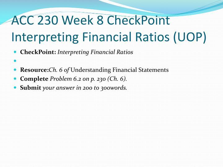 ACC 230 Week 8