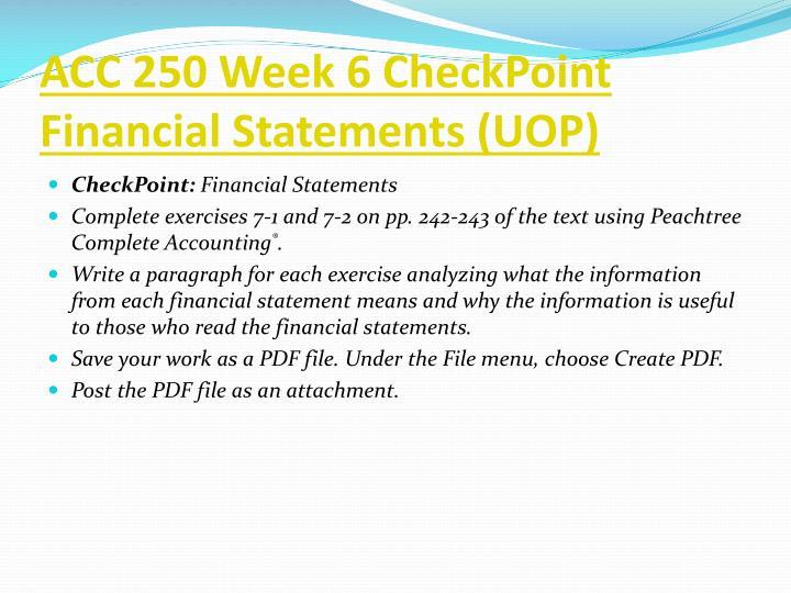 ACC 250 Week 6