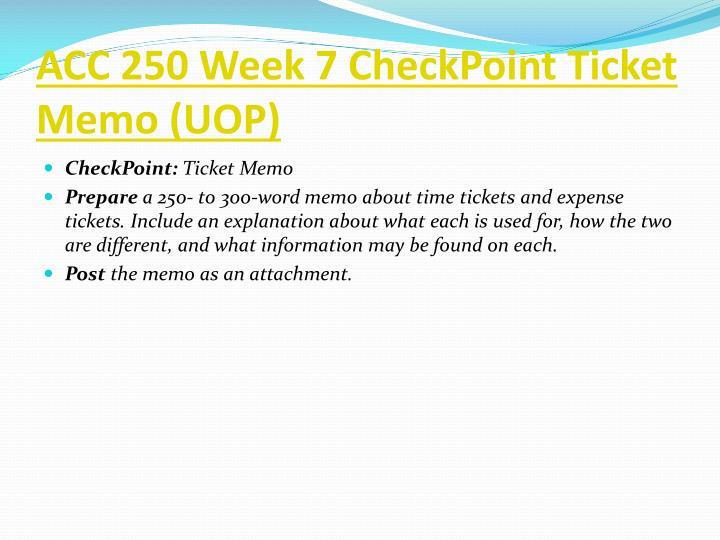 ACC 250 Week 7