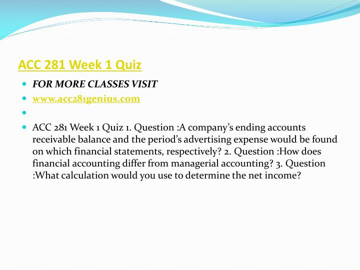 ACC 281 Week 1 Quiz
