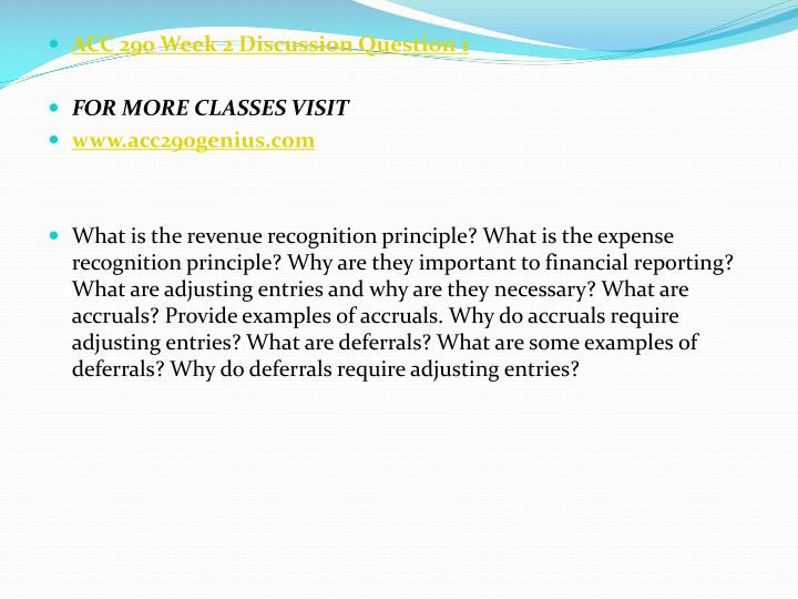 ACC 290 Week 2 Discussion Question 1