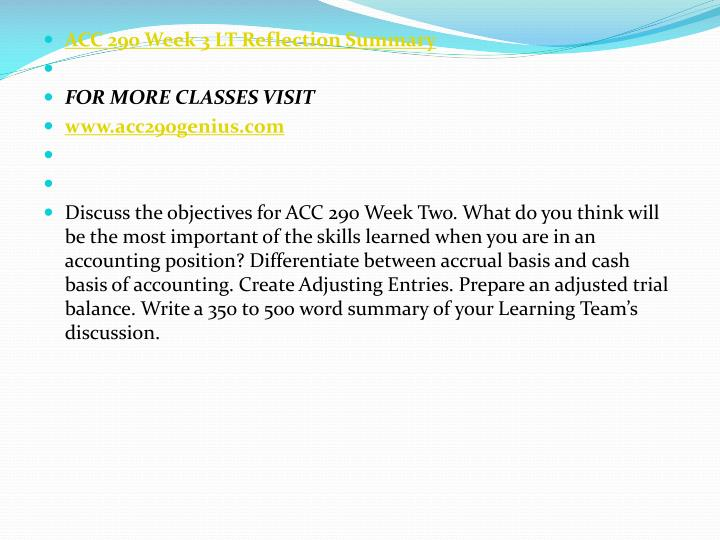 ACC 290 Week 3 LT Reflection Summary