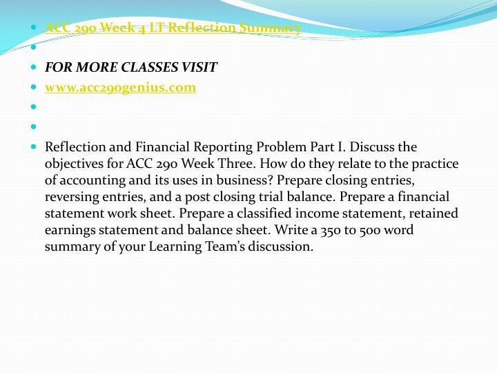 ACC 290 Week 4 LT Reflection Summary