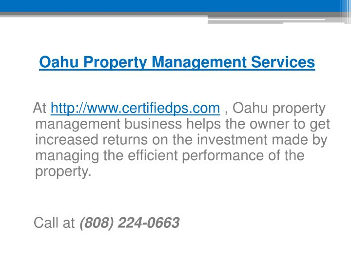 Oahu Property Management Services