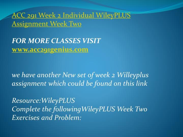 ACC 291 Week 2 Individual