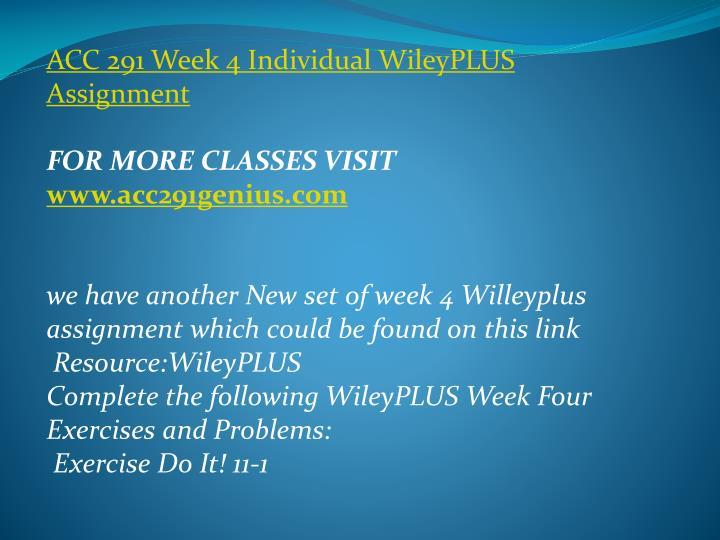 ACC 291 Week 4 Individual