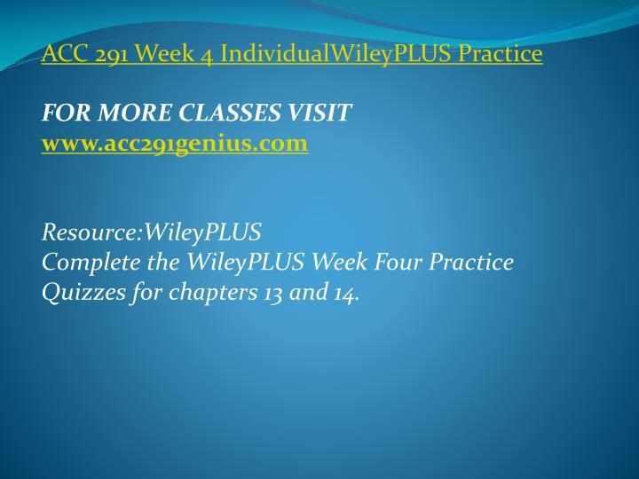 ACC 291 Week 4
