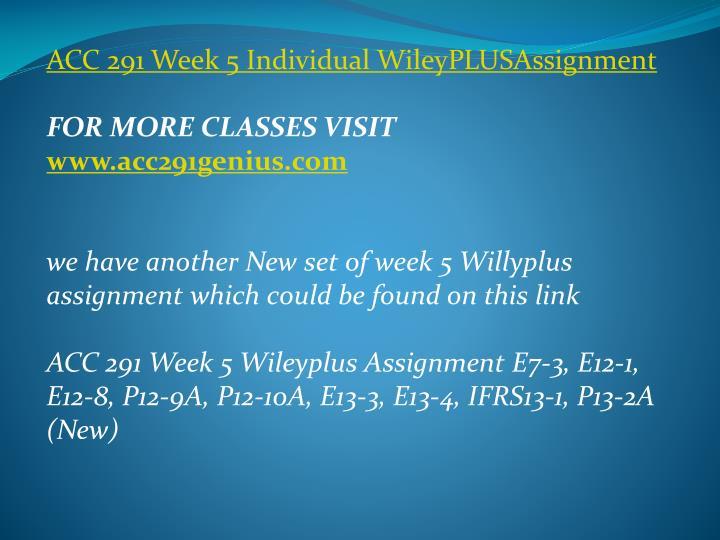 ACC 291 Week 5 Individual
