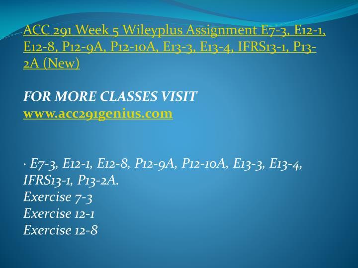 ACC 291 Week 5
