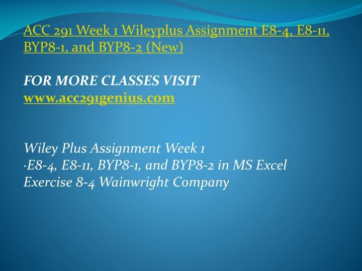 ACC 291 Week 1