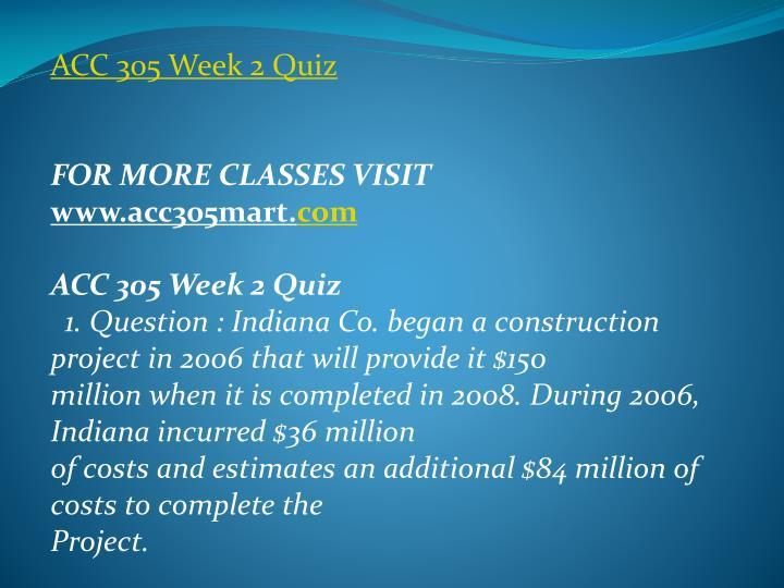 ACC 305 Week 2 Quiz