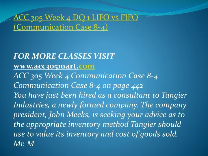 ACC 305 Week 4 DQ 1 LIFO