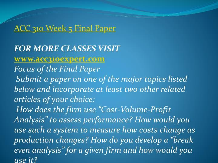 ACC 310 Week 5 Final Paper