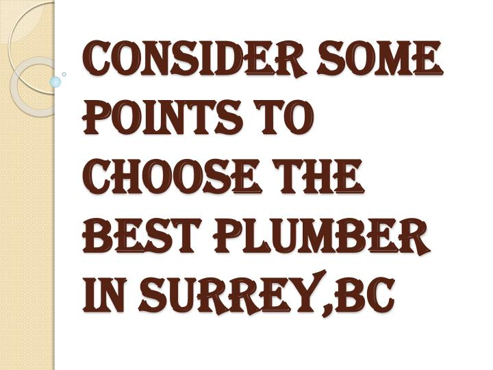 Consider some points to choose the best plumber in surrey bc