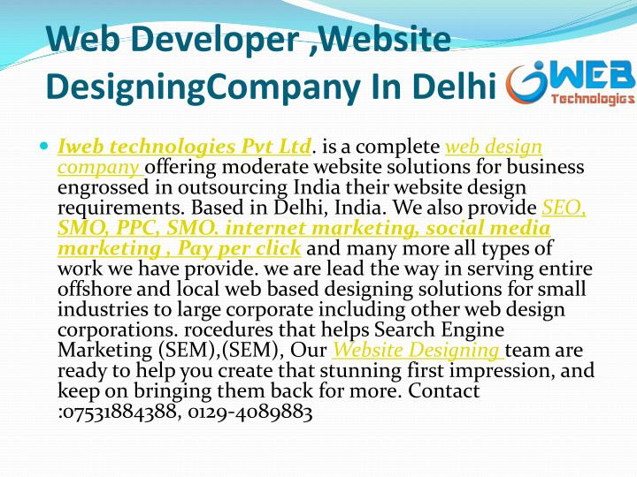 W eb developer website designingcompany in delhi