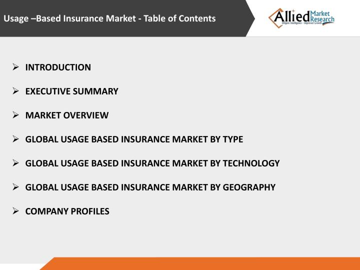Usage –Based Insurance Market - Table