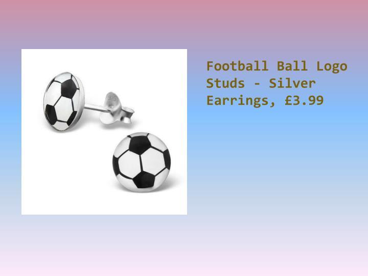 Football Ball Logo Studs - Silver Earrings, £