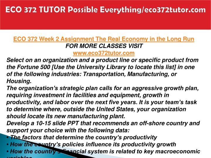 ECO 372 TUTOR Possible Everything/eco372tutor.com