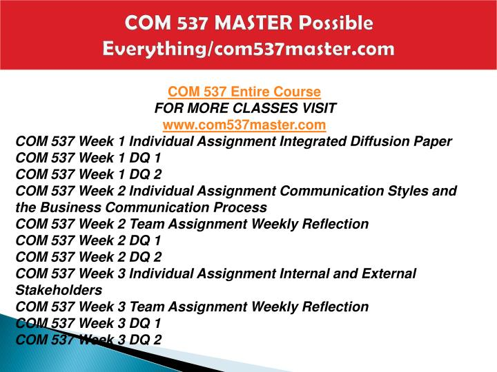 Com 537 master possible everything com537master com1