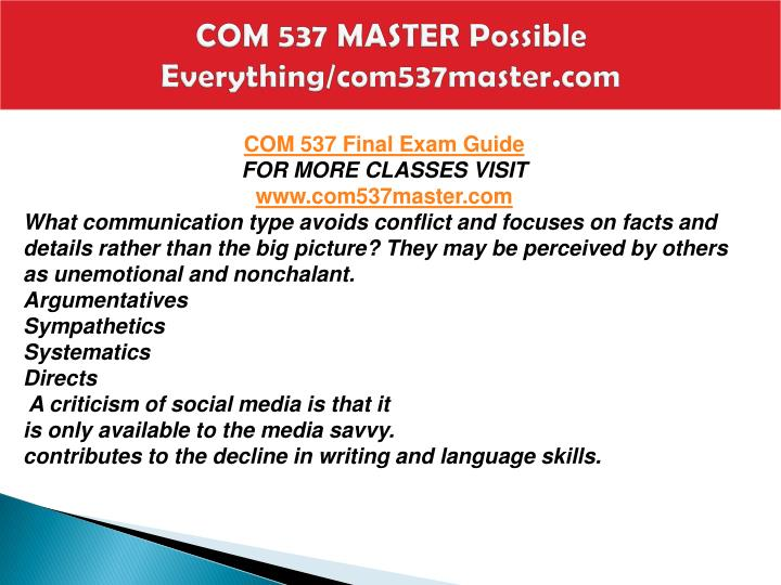 Com 537 master possible everything com537master com2